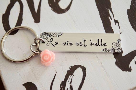 La vie est belle~ LIGHT WEIGHT ALUMINUM~Rectangle Key Chain with Rose Charm