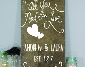 ALL you need is LOVE wedding sign personalized welcome name and wedding date sign