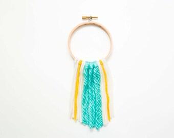 Mini Turquoise / Yellow Yarn Wall Hanging on Embroidery Hoop