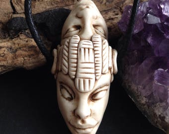Hand Sculpted Polymer Clay Focal Bead in the Ancestor Style