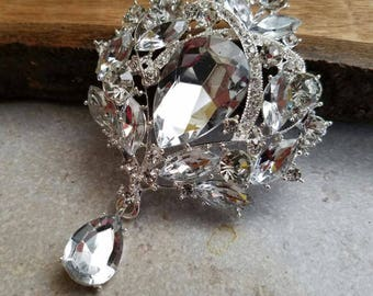 Large or Extra Large Silver Rhinestone Drop Brooch Flat Back Embellishment Pin Clear Broach Dangling Wedding Brooch Bouquet Silver Pin SC12