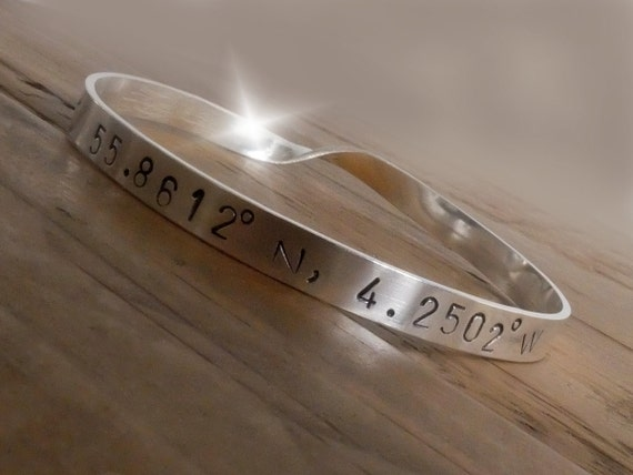 Silver Coordinates Bangle, Latitude Longitude, Latitude Bangle , Longitude Bracelet, Hand Stamped Bangle, Personalised Twisted Silver Bangle