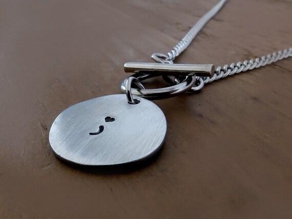 Semi Colon Necklace, Survivor Necklace, Semicolon Necklace, Surviving Depression Necklace, Surviving Cancer Necklace, Pewter T Bar Necklace