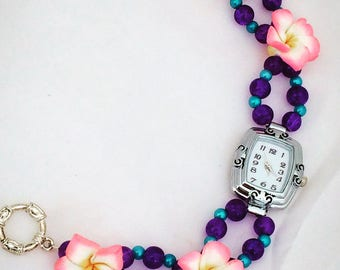 Beaded Watch ~ Pretty Watch ~ Watch Bracelet ~ Womens Watch ~ Handmade Watch ~ Colourful Watch ~ Womens Wrist Watch ~ Beaded Watch Band