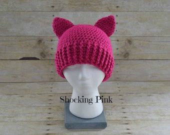 Pussy Hat - Pink Pussy Hat - Pussy Hat Project - Kitty Hat - Pussy Cat Hat - Support Women's Rights- Handmade
