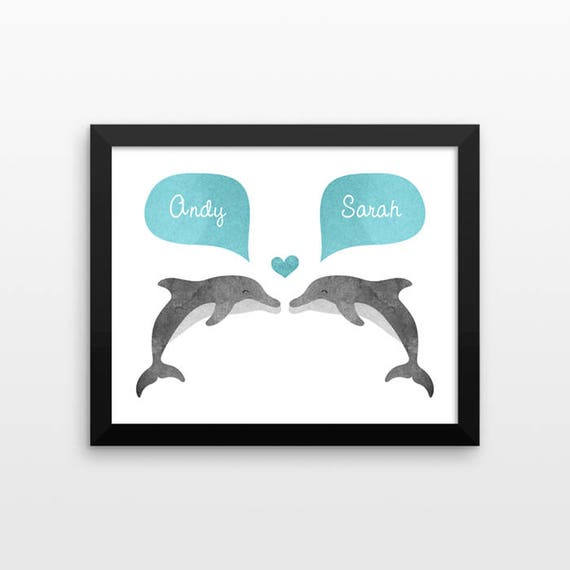 DOLPHIN Couple Portrait, Personalized Art Print, Wedding Gift for Couple Gift, Engagement Gift for Her, Bridal Shower Gift, Couple Wall Art