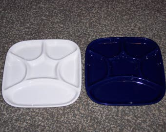 partitioned appetizer plate,luncheon,snack plate,6 sections,compartments,square,navy blue or white