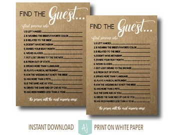 Rustic, Printable Bridal Shower Game-Find the Guest- Digital file with Kraft Background- Shower Game- Customization NOT Included