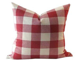 Red Check Gingham Pillow Cover
