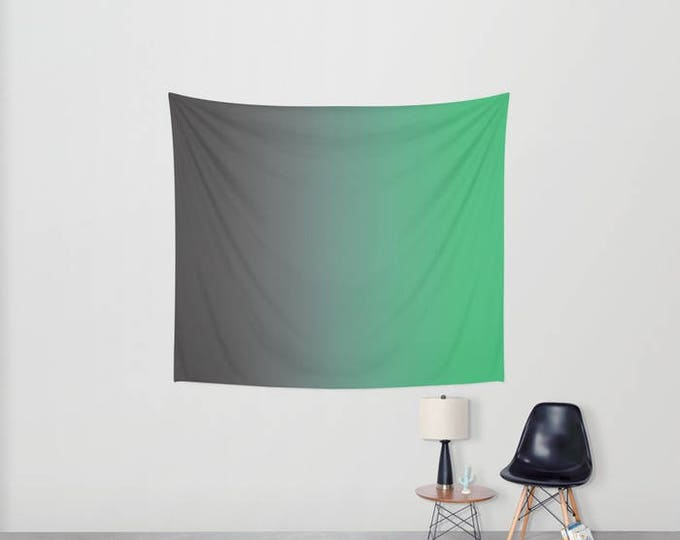 Hanging Tapestry - Gray to Green Ombre - Wall Tapestry - Large Wall Hanging - Home Decor - Made to Order