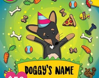 Customizable Digital Illustration Doggy Portrait