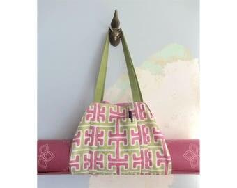 Yoga mat carrier, Yoga mat bag - Pink and green - Medium