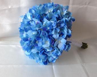 Blue Hydrangea Bridal Bouquet Silk Hydrangea Wedding Bouquet Artificial Floral Bridesmaids Bouquet Realistic Flower Bouquet For Wedding