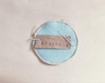 Wool Nursing Pads // 'Ice Blue' Cashmere Wool Re-Usable Nursing Pads
