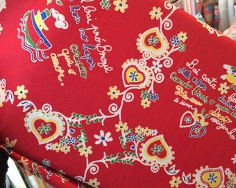 Love Valentines fabric, portuguese fabric, 100% cotton - RED