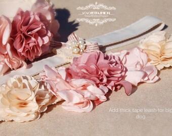 Beautiful handmade dog leash .weddings dog leash,Birthday's gift. cute pink flowers dog leash,dog wedding leash,Very cute gift for dog