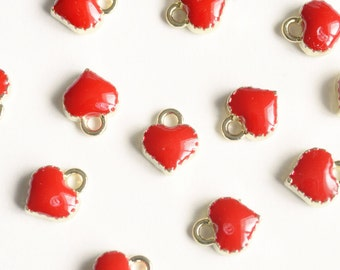 Tiny Red Heart Charms Enamel Over Gold Plating - 10 pieces (118GR)