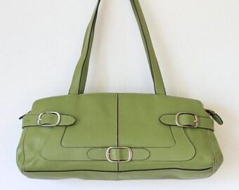 Lime Green FRANCO SARTO Leather Satchel Handbag/ Spring Green Leather Shoulder Bag/ Barrel Purse 080415