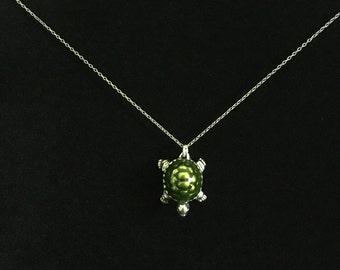Vintage 925 Silver Turtle Pendant Necklace (RGB-Box4)