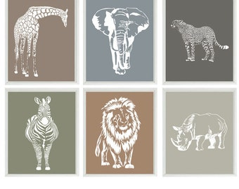 Animal Nursery Wall Art, Baby Nursery Prints, Neutral Nursery, Elephant, Giraffe, Lion, Cheetah, Zebra, Rhino, Safari Prints, Modern Nursery