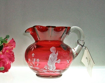 "Small Limited Edition Fenton ""Bubbles"" Cranberry Pitcher ~ Mary Gregory Collection"