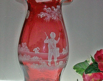 "Fenton Ruby Hurricane Candle Lamp ~ Limited Edition ~ ""Little Drummer Boy"" ~ Mary Gregory Collection"