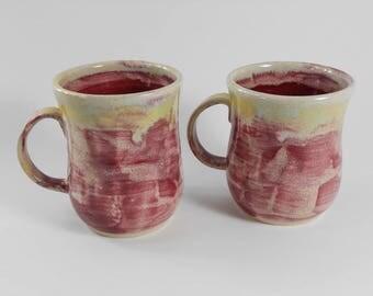 Pottery coffee mug  - ceramic coffee mug - burgundy coffee mug - tea mug - pottery mug M39