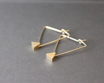 Triangle Earrings - Triangle Hoop Earrings - Geometric Earrings