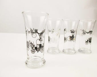 Set of Four Glasses With Gold, Black and White Antique Cars - Cordials -  3 Oz. Cordial Glasses - Mint Condition