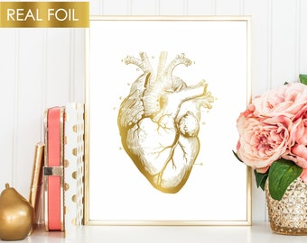 Human Heart Art, Anatomical Heart, Anatomy Print, Gold Foil Medical Art, Valentines Day Gift, Doctor Office Gift, Med Student Art Cardiology