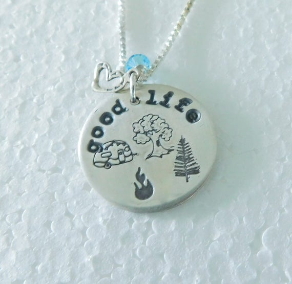 Sterling silver camper necklace, camping rocks jewelry,  sporty necklace, RV'n, camping rocks, crazy camper, happy camper