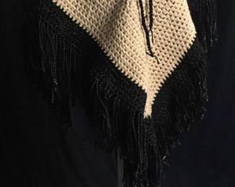 Vintage 1970's Crochet Cream & Black Fringe Poncho