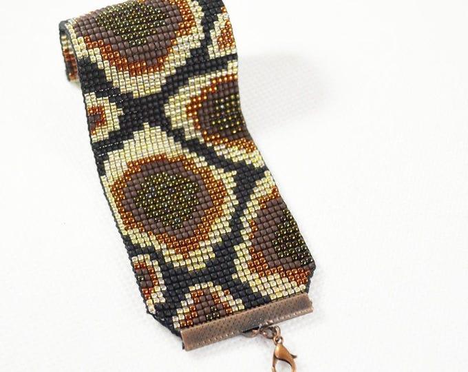Photo reproduction, custom made bracelet, loom bracelets, wide bracelets, seed bead bracelet, skin snake, wide cuff bracelet, woven cuff