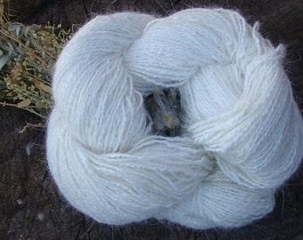 Hand Spun French Angora Rabbit Yarn - White