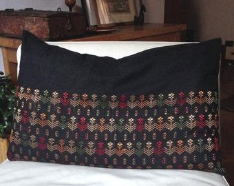 Bedding pillow, Boho pillow cover, Tribal pillow, Asian Pillow, Floral pillow case, Pillow Cover - 20x28 inch, LAOTIAN pillow
