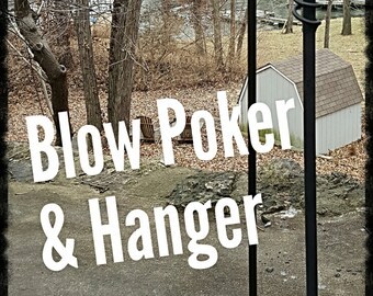 """Blow Poke (29"""") and Hanger, Blacksmith made, Ornate, Camping, Fire Pit Accessory,Fire Poker, Blow Pipe, Bellow"""