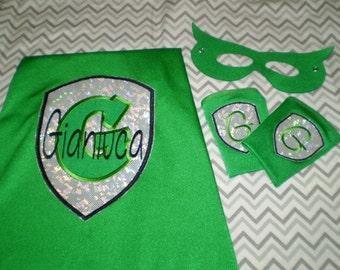 SuperHero cape, mask & super power cuffs Set - many color and emblem choices You Design