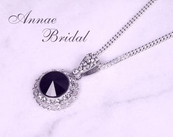 "Black crystal and rhinestone pendant necklace, silver, Swarovski, Bridal, wedding, bridesmaid, ""Crystal Radiance"" necklace"