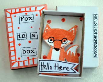 Fox in a matchbox: English, miniature, glasses, handpainted, foxes, little present, Easter gift, friend, family, cute, Dorset, animals cute