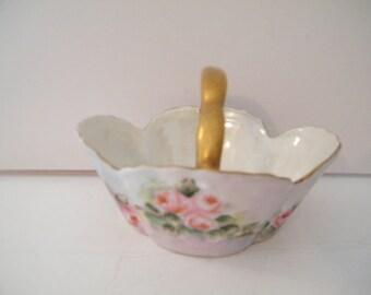 Antique Z S and Co Bavarian Trinket Dish Zeh, Scherzer, Rehau Bavaria, Hand Painted  glazed  between 1880 - 1915 elegant porcelain basket
