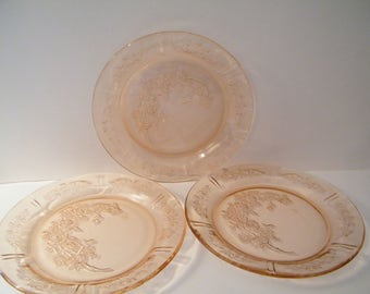 Sharon Cabbage Rose Pink Plates, 3 lunch or dinner  size 9 inch diameter,Federal Glass,  vintage replacement kitchen, light utensil marks