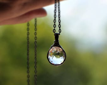 Crystal prism necklace, Faceted Glass Sphere, Lighting Collection, Crystal Ball, Feng Shui for Home, Meditation, Jewelry by MARIAELA