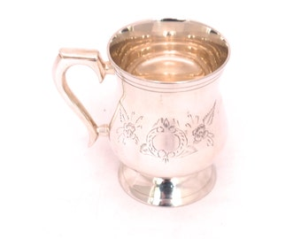 Vintage Silver Plated Tankard, Half Pint Pitcher, Beer Tankard, Engraved Silver Goblet, Tankard Mug, Georgian Silver Pub Half Pint Tankard