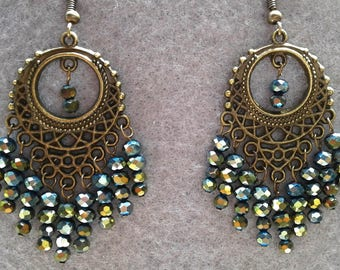 Green and Bronze Czech Crystal Beaded Earrings