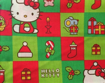 Hello Kitty Christmas Blocks Cotton Fabric By The Yard
