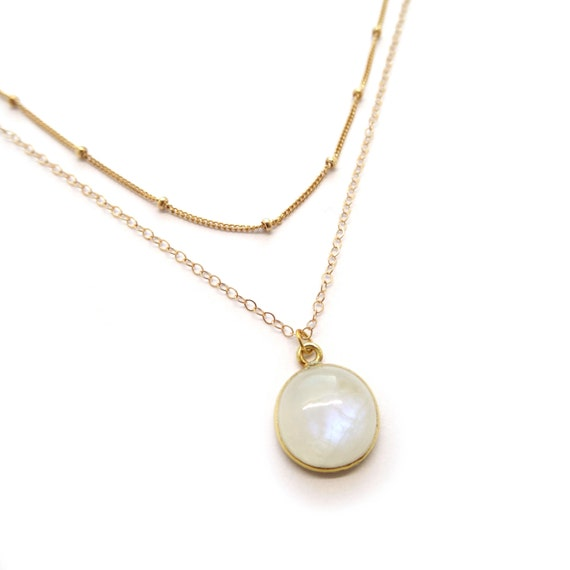 Satellite Chain and Moonstone Layer Necklace