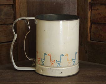 Vintage Androck Enamel Flour Sifter w/ Red and Blue Ducks Geese | Made in USA