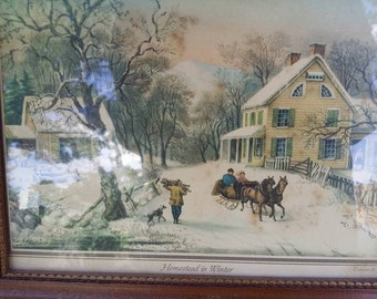 Currier & Ives American Homestead in Winter