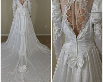 vintage 80s white satin sequins and beads wedding dress wedding gown with train