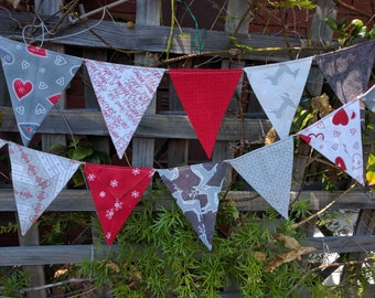 Christmas Bunting, flags or banner  festoon outside or inside or use as a photography prop reds and taupe reindeers